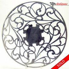 Art Nouveau Cut Glass Trivet with Sterling Overlay - 1890's (SOLD)