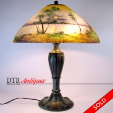 Jefferson Reverse-Painted Electric Table Lamp - 1920's (SOLD)