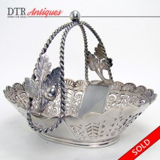 Pairpoint Silver Plated Basket with Acorns and Leaves - 1900 (SOLD)