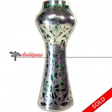 Glass Vase with Sterling Overlay by Alvin / Gorham - 1920's (SOLD)