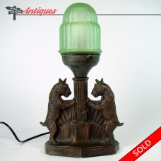 Scottie Dogs Lamp with Uranium Glass Shade - 1920's Art Deco (SOLD)