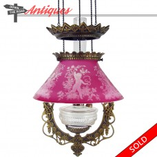 Bradley & Hubbard Library Lamp with Art Glass Cameo Shade - 1880's (SOLD)