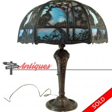 Salem Brothers Table Lamp with Filigreed Slag Glass Shade (SOLD)