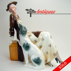 Art Deco Ceramic Figurine of Lady with Borzoi Dog - 1920's (SOLD)