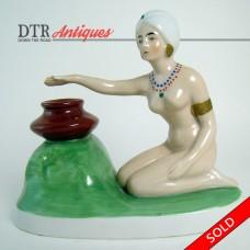 Goebel Porcelain Incense Burner with Nude Figure in Turban - 1930's Art Deco (SOLD)