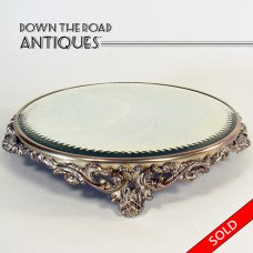 Silver Plated Plateau Mirror with Cut and Beveled Border - 1890's (SOLD)