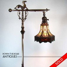 Rembrandt Floor Lamp with Sea Horse and Lizard, Pierced Arts & Crafts Glass  Shade - 1920's (SOLD)